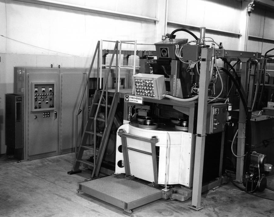 Manufactured in the late-70's was Leybolds' high voltage, partial vacuum, production gear welder for the automotive industry.