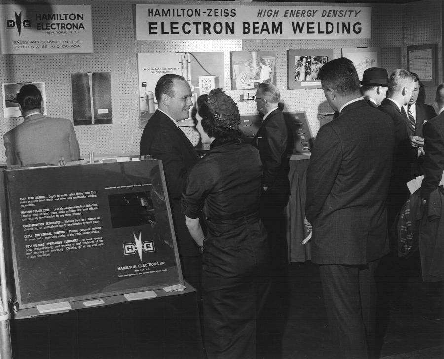 In 1959, United Technologies acquired the North American rights to Zeiss electron beam welders, assigning the program to their Hamilton Standard Division in Windsor Locks, CT. Hamilton Standard ships the first Zeiss-designed EB welder built in the U.S. in 1961 and later licenses the technology to various companies around the world.