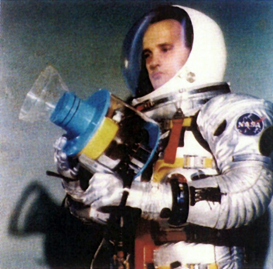 Astronaut Holding Protoype Space EB Welding Unit