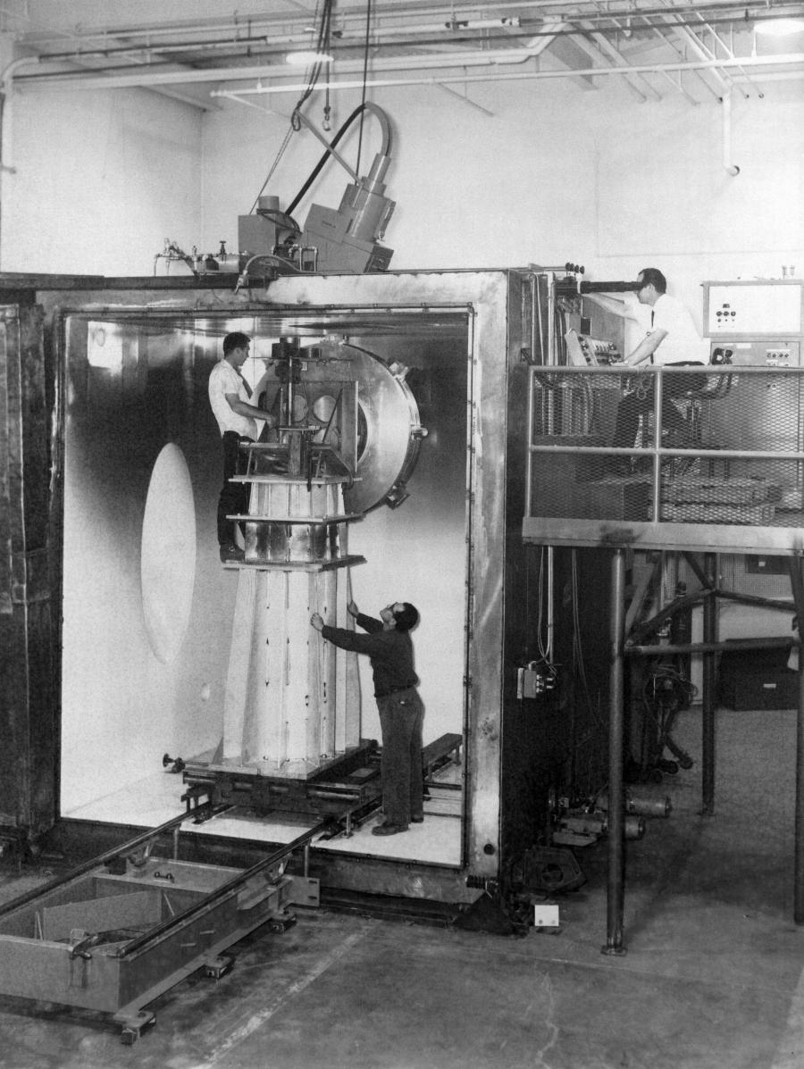 1960's Hamilton Standard bent column, large chamber 25 kW EB welder.