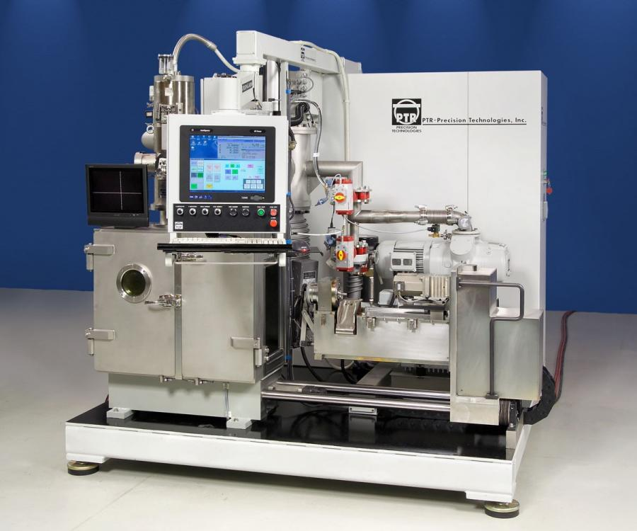 PTR's custom designed, mass production EB welder with automatic (in-vacuum) magazine loading for small to medium parts.