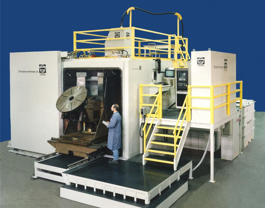 Typical large chamber, high voltage welder with a rotary / tilt and mechanical Z motion system.