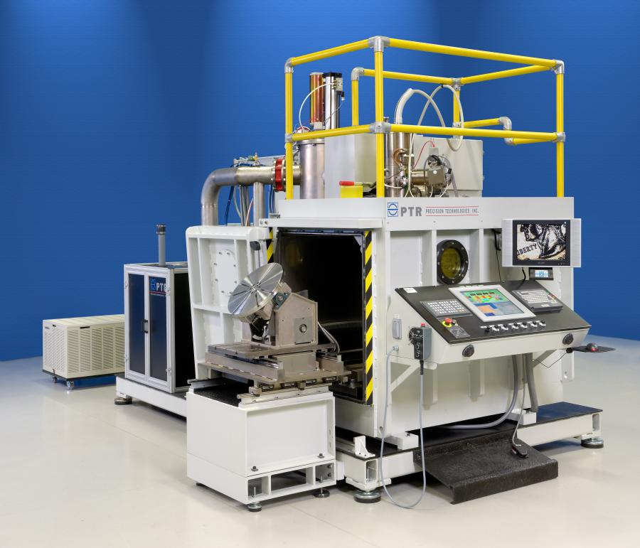 Current PTR model of the medium chamber EB welder shown with a low voltage, 60 kV generator.